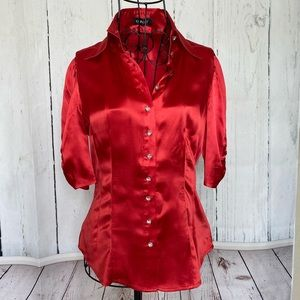 Bebe Red Button Up Top